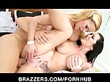 Busty brunette fan girl starts HOT threesome with Shyla Stylez